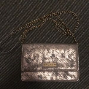 Metallic grey foxy crossbody wallets purse